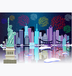 new year background new york city with fireworks vector image