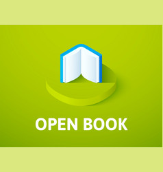 Open book isometric icon isolated on color vector