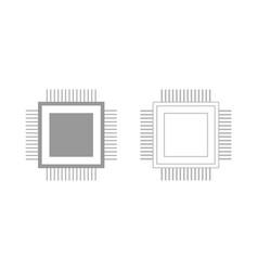 Processor the grey set icon vector