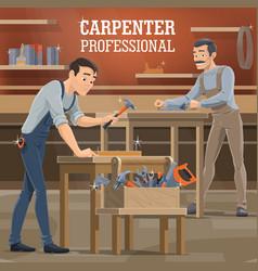 professional carpenters working in workshop vector image