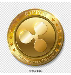 realistic 3d golden ripple coin vector image