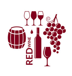 red wine icon set vector image