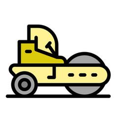 Repair road roller icon color outline vector