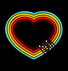retro heart dots background vector image