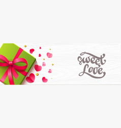 romantic horizontal background with paper hearts vector image