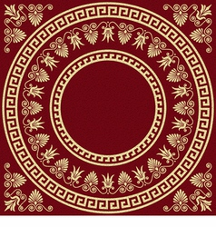 round Greek ornament Meander and floral pattern vector image