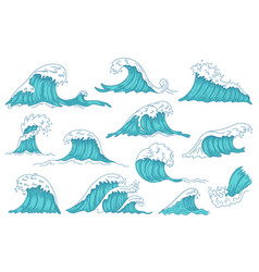 sea waves ocean hand drawn water wave vintage vector image