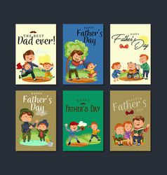 Set happy fathers day greeting card dad fun with vector