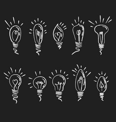 set of light bulbs collection of stylized energy vector image