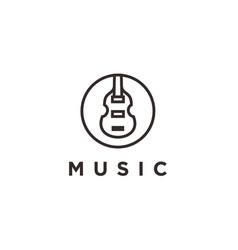 simple icon logo design violin viola fiddle vector image
