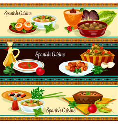 spanish cuisine banner set with traditional food vector image