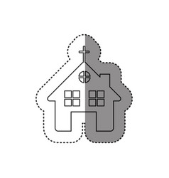 sticker of monochrome contour of church in white vector image