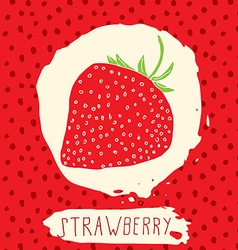 Strawberry hand drawn sketched fruit with leaf on vector
