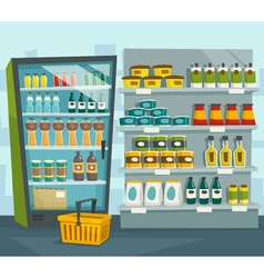 Supermarket interior shop shelves and refrigerator vector