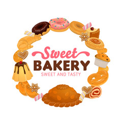 sweet food desserts and cakes bakery and pastry vector image