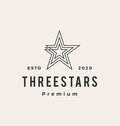 three stars hipster vintage logo icon vector image