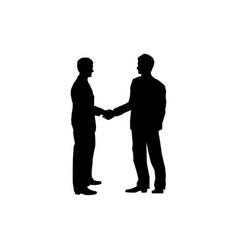 two businessmen handshake men silhouette business vector image