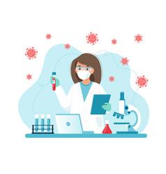 Vaccine research female scientist conducting vector