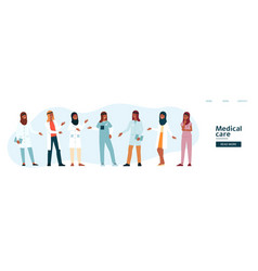 website template with arabian medical team cartoon vector image
