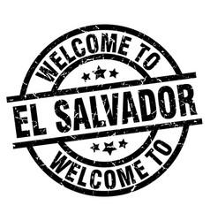 Welcome to el salvador black stamp vector