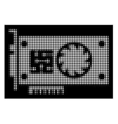 White halftone gpu accelerator card icon vector
