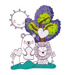 Wild animals cartoons vector