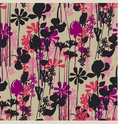 Wildflowers blossom silhouette seamless pattern vector