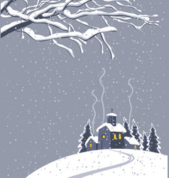 winter night landscape with snow-covered village vector image