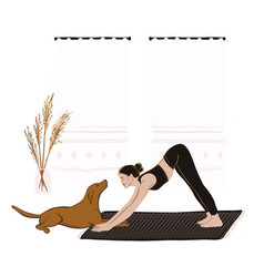 woman doing yoga with dog at home during vector image