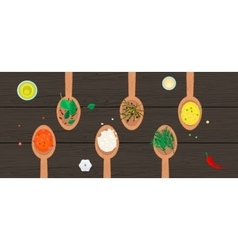 Wooden spoons with spices and herbs on wood vector