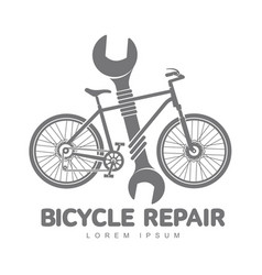 bicycle repair workshop logo template vector image