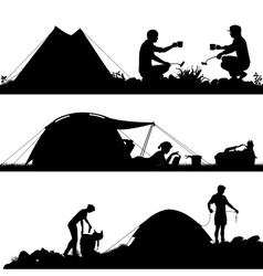 Camping foreground silhouettes vector image vector image