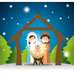 Characters manger merry christmas design vector