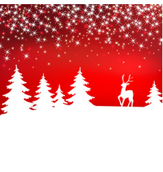 christmas background winter landscape with deer vector image vector image