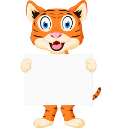 cute tiger cartoon holding sign vector image vector image