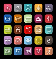 Franchisee business line icons with long shadow vector image vector image