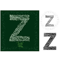 letter z made with decorative leaves vector image vector image