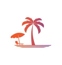 palm travel lanscape logo vector image