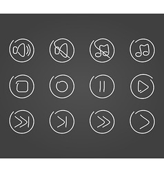 Sound multimedia icons draw effect vector image