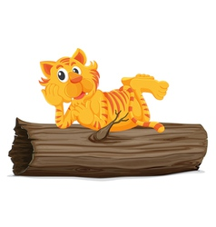 Tiger on a log vector image vector image