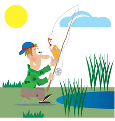 a fisherman catches a fish vector image vector image