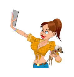 girl doing selfie vector image