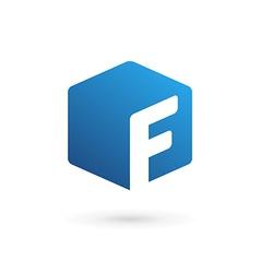 Letter f cube logo icon vector