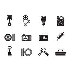 Silhouette car parts and services vector