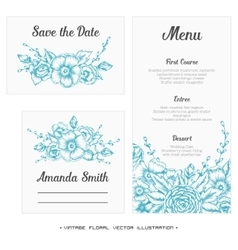 Wedding set Menu save the date guest card vector image