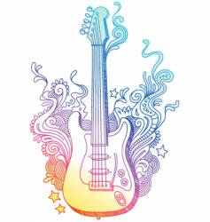 hand drawn guitar vector image vector image