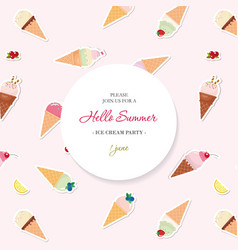 hello summer background pattern with ice cream vector image vector image