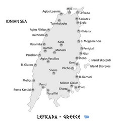 island of lefkada in greece white map vector image vector image