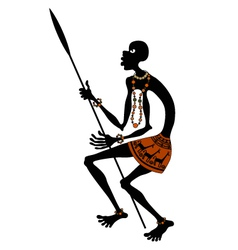 African warrior with spear vector image