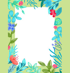 frame with flowers and leaves vector image vector image